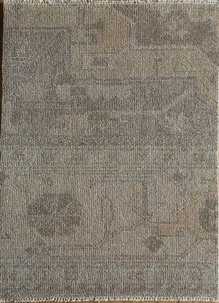 LNLP-07 Gray/Dark Ivory beige and brown wool hand knotted Rug