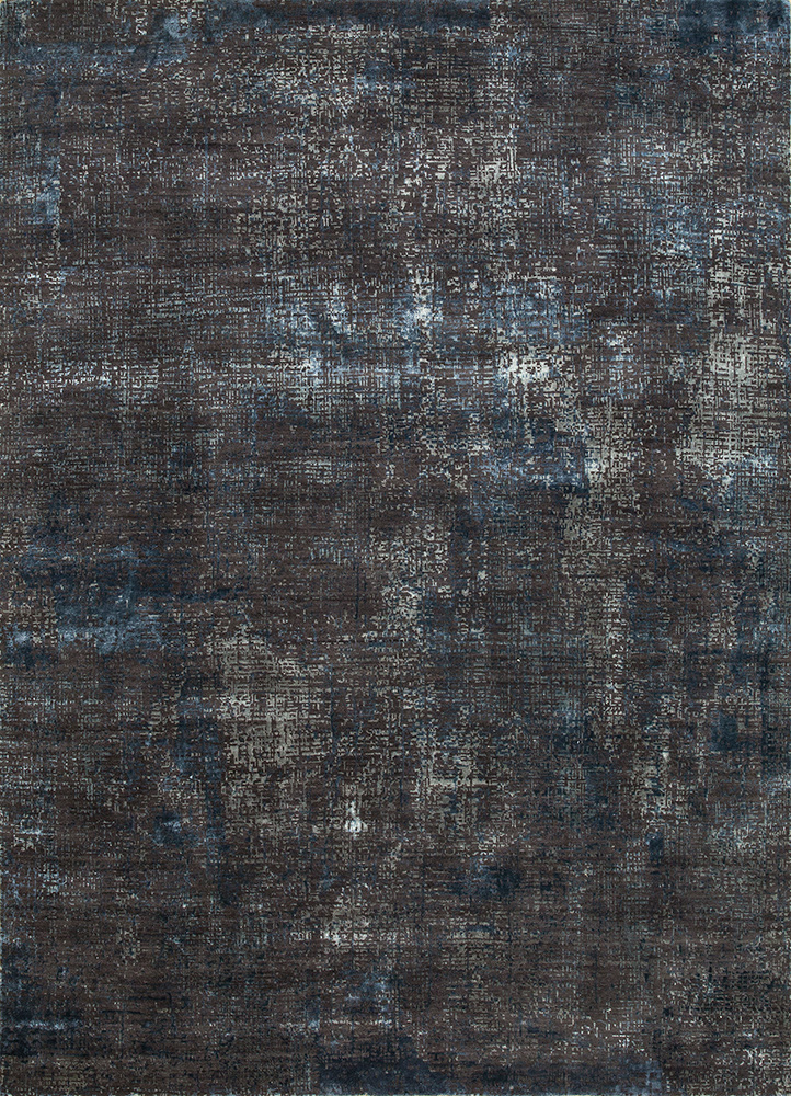 LRB-1502 Liquorice/Indigo Blue grey and black wool and bamboo silk hand knotted Rug