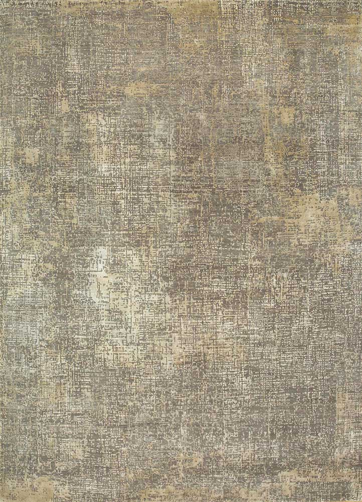 LRB-1502 Ashwood/White Sand grey and black wool and bamboo silk hand knotted Rug