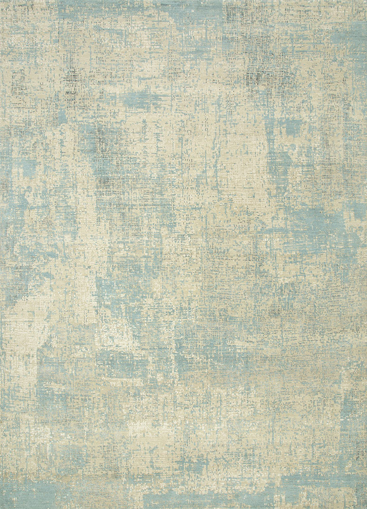 LRB-1502 Antique White/Aquamarine ivory wool and bamboo silk hand knotted Rug