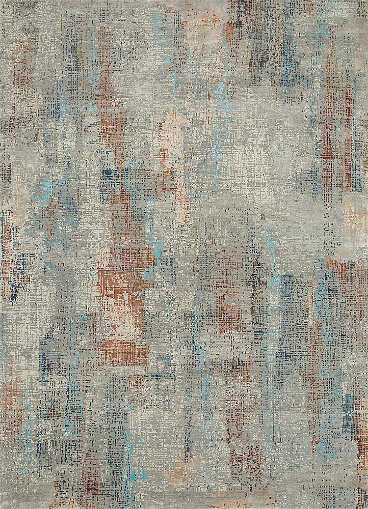 LRB-1502 Soft Gray/Ivory grey and black wool and bamboo silk hand knotted Rug
