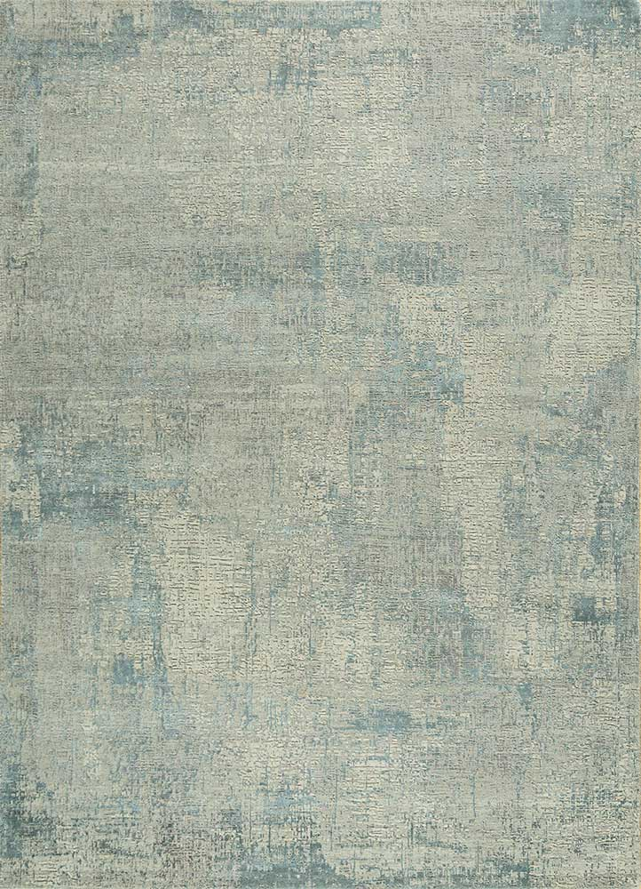 LRB-1502 Ivory/Soft Gray ivory wool and bamboo silk hand knotted Rug