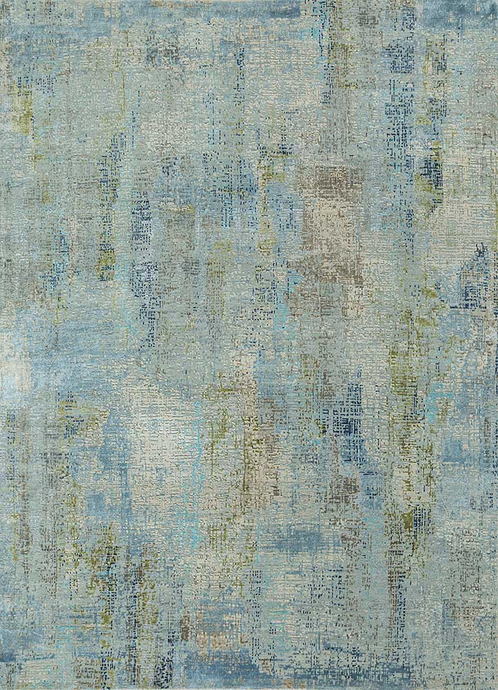 LRB-1502 Pearl Blue/Antique White blue wool and bamboo silk hand knotted Rug