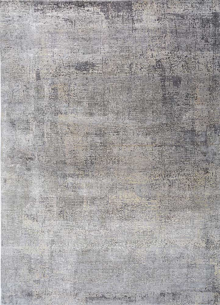 LRB-1502 Ashwood/Silver grey and black wool and bamboo silk hand knotted Rug