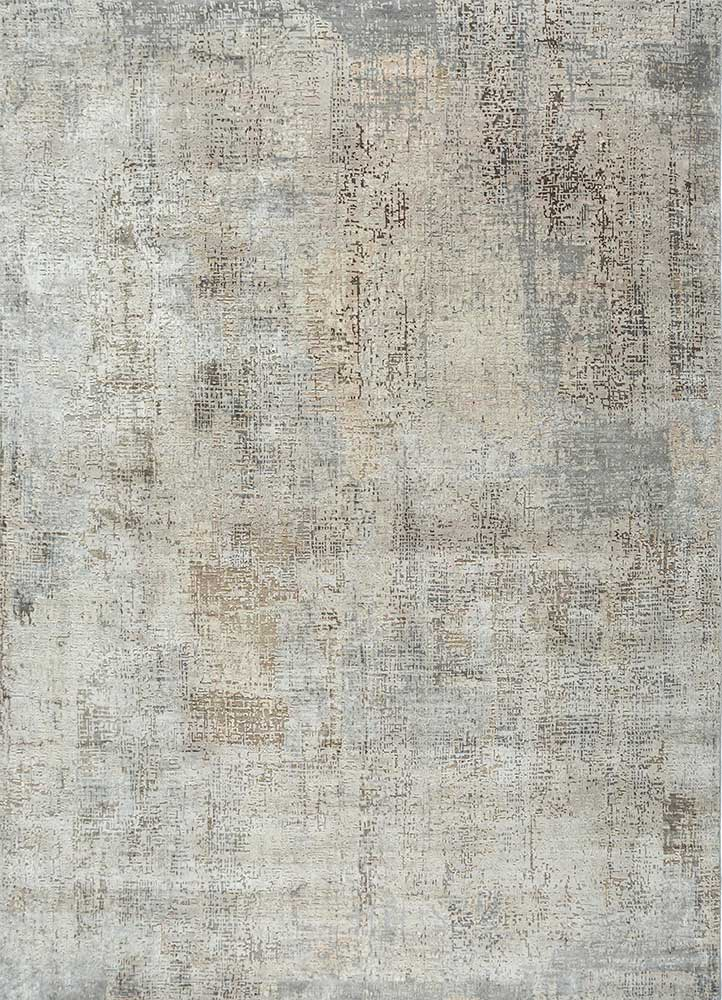 LRB-1502 Antique White/Ashwood ivory wool and bamboo silk hand knotted Rug
