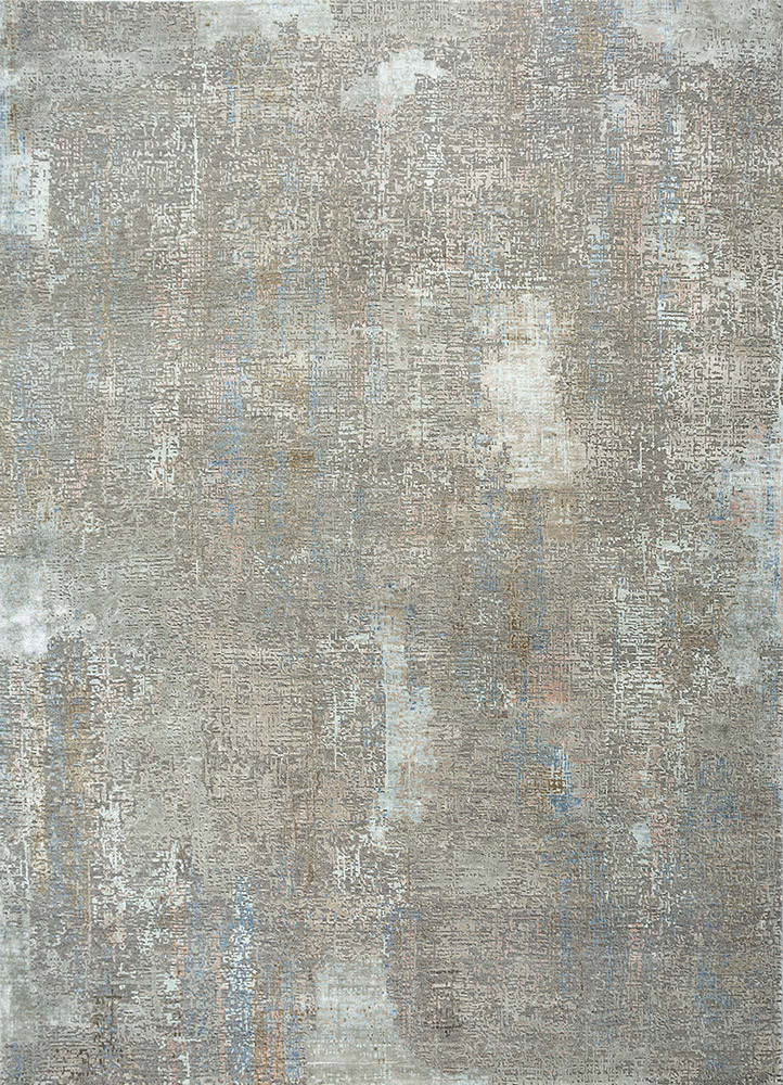 LRB-1502 Ashwood/Flax grey and black wool and bamboo silk hand knotted Rug