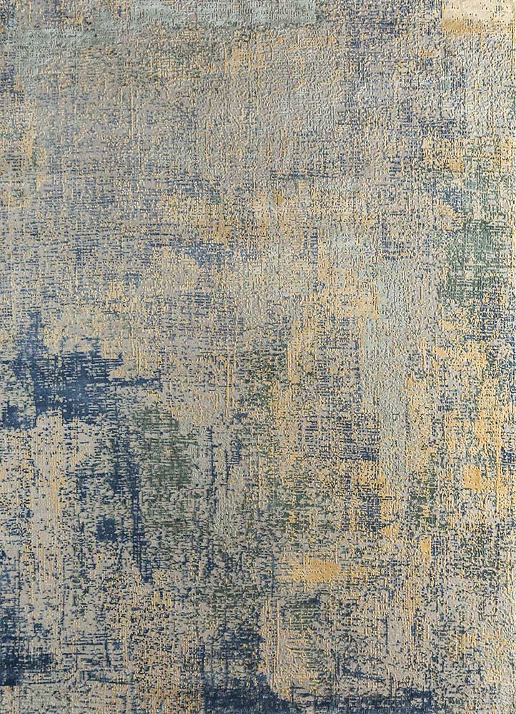 LRB-1502 Antique White/Marigold ivory wool and bamboo silk hand knotted Rug