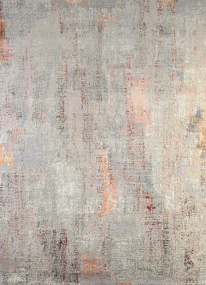 LRB-1502 Linen/Snow White ivory wool and bamboo silk hand knotted Rug