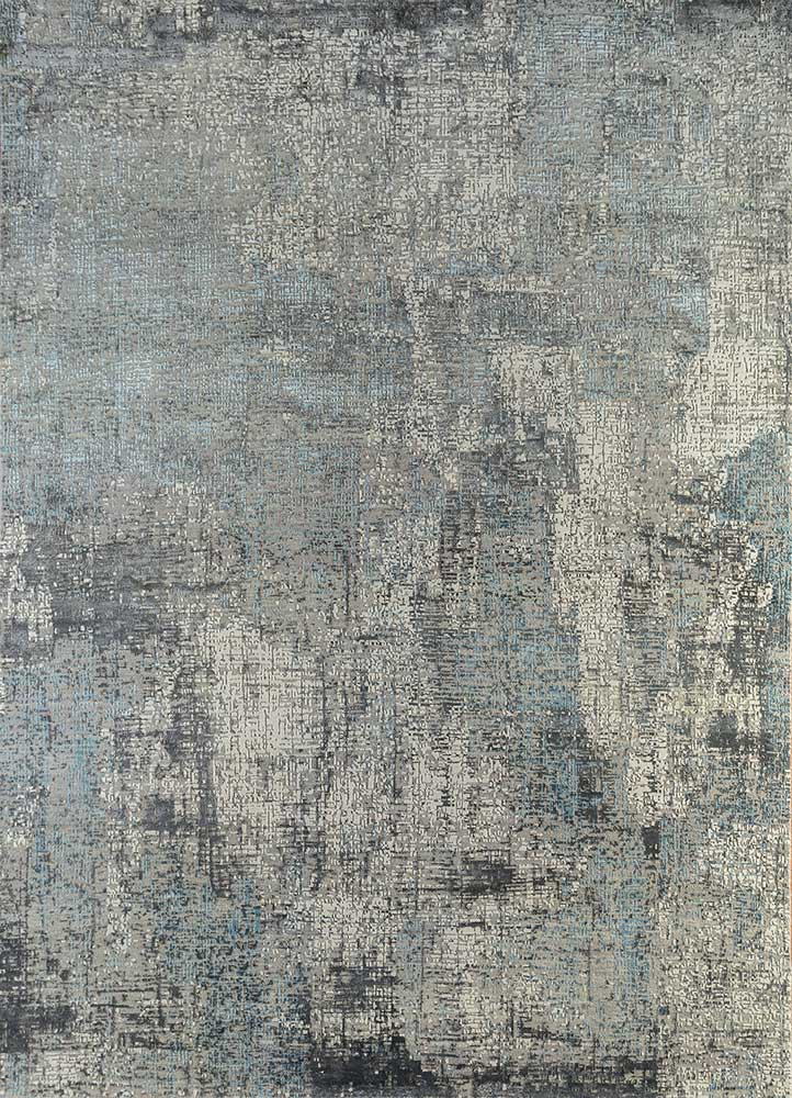 LRB-1502 Soft Gray/Liquorice grey and black wool and bamboo silk hand knotted Rug