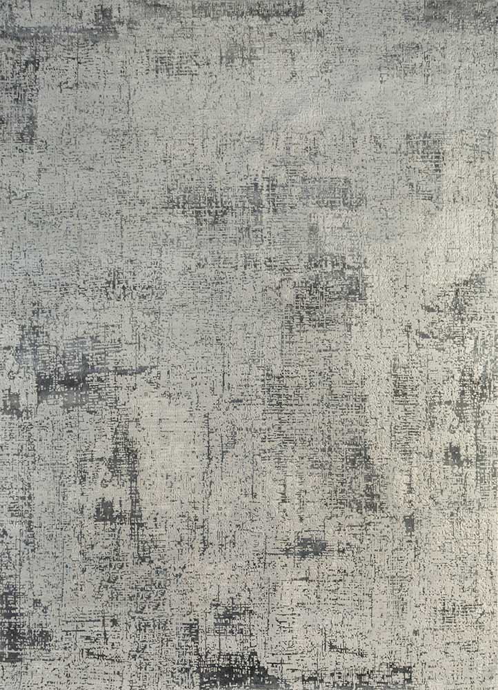 LRB-1502 Classic Gray/Liquorice grey and black wool and bamboo silk hand knotted Rug