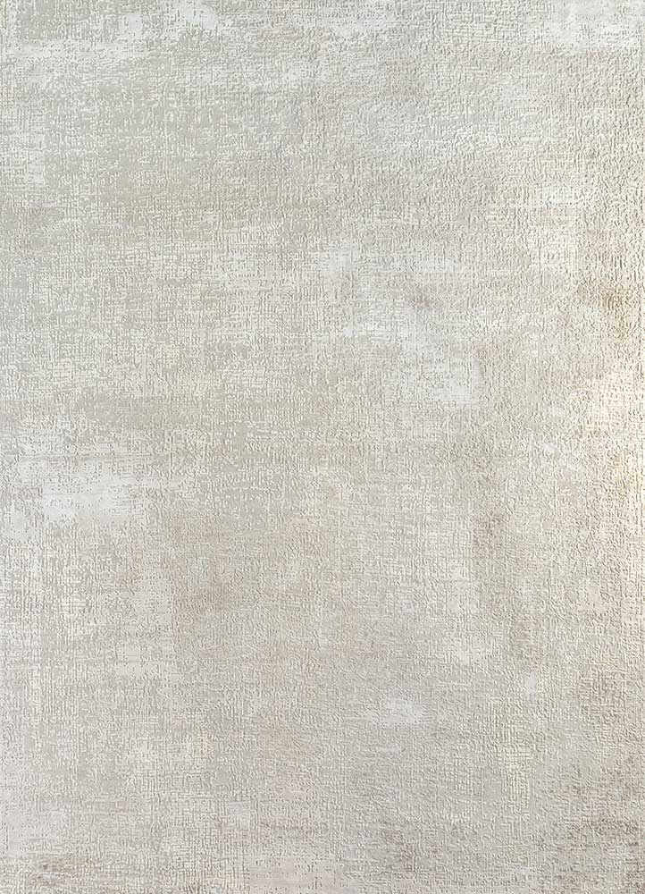 LRB-1502 Antique White/White ivory wool and bamboo silk hand knotted Rug