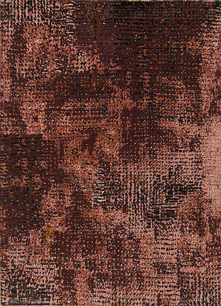 uvenuti red and orange wool and bamboo silk hand knotted Rug - HeadShot