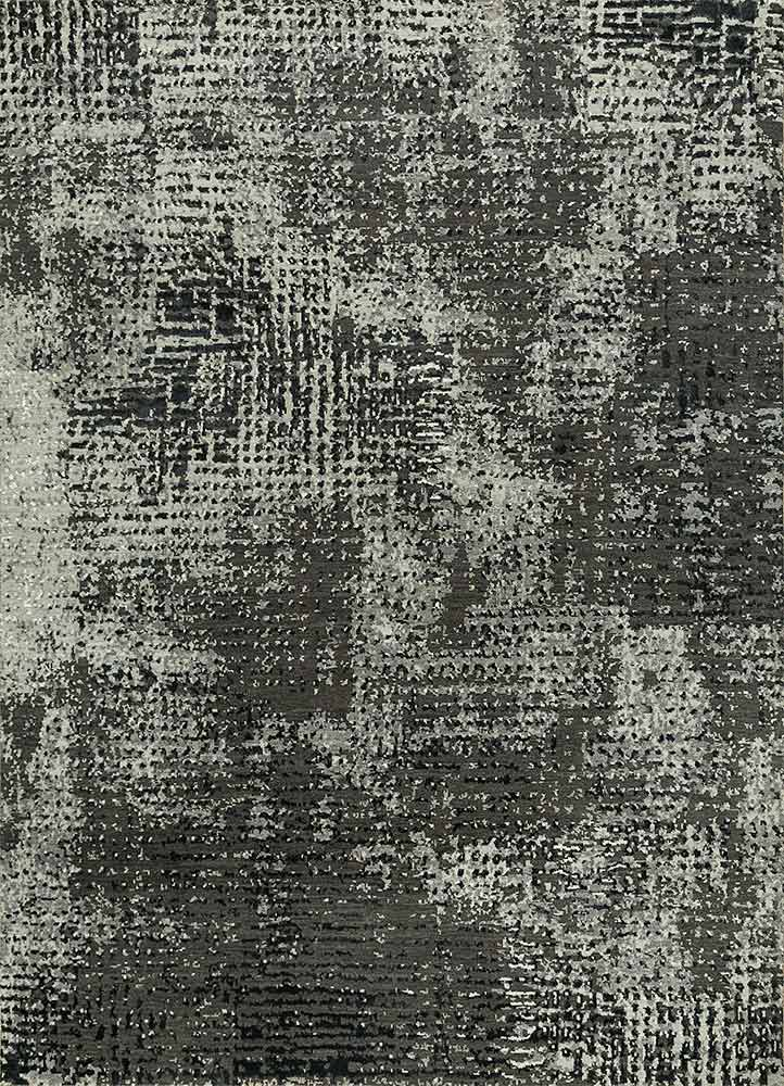 LRB-1503 Liquorice/Classic Gray grey and black wool and bamboo silk hand knotted Rug
