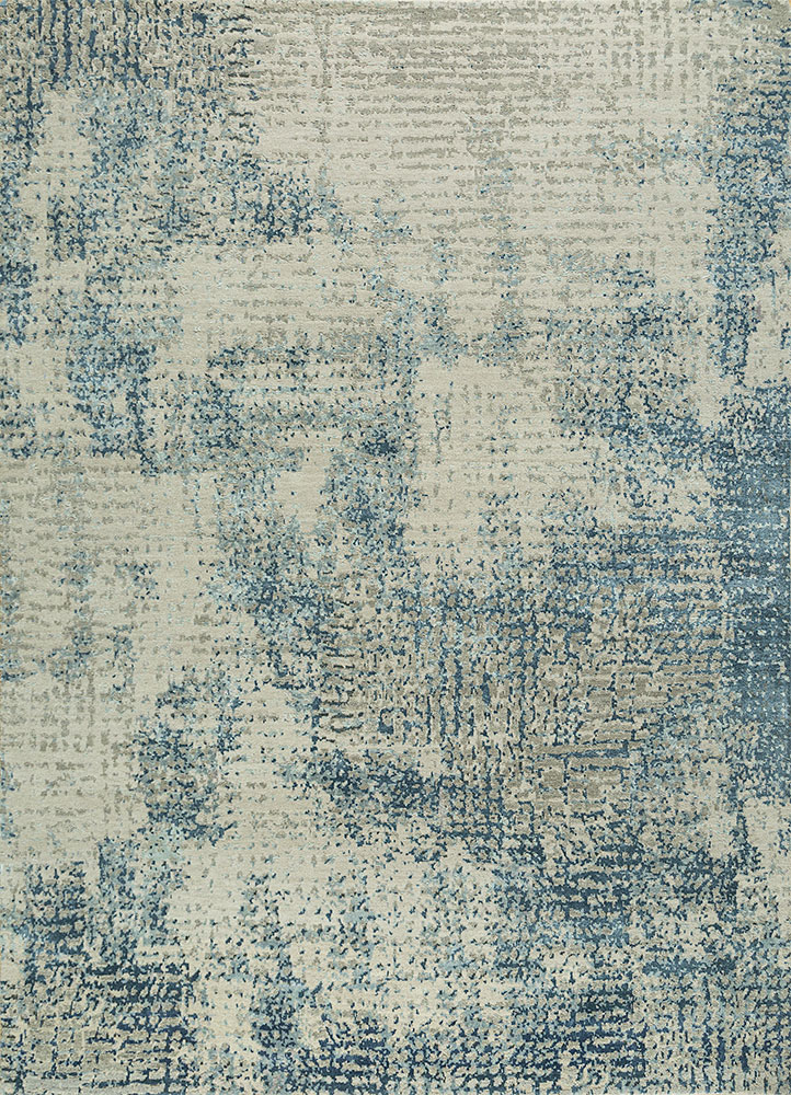 LRB-1503 Ivory/Ensign Blue ivory wool and bamboo silk hand knotted Rug