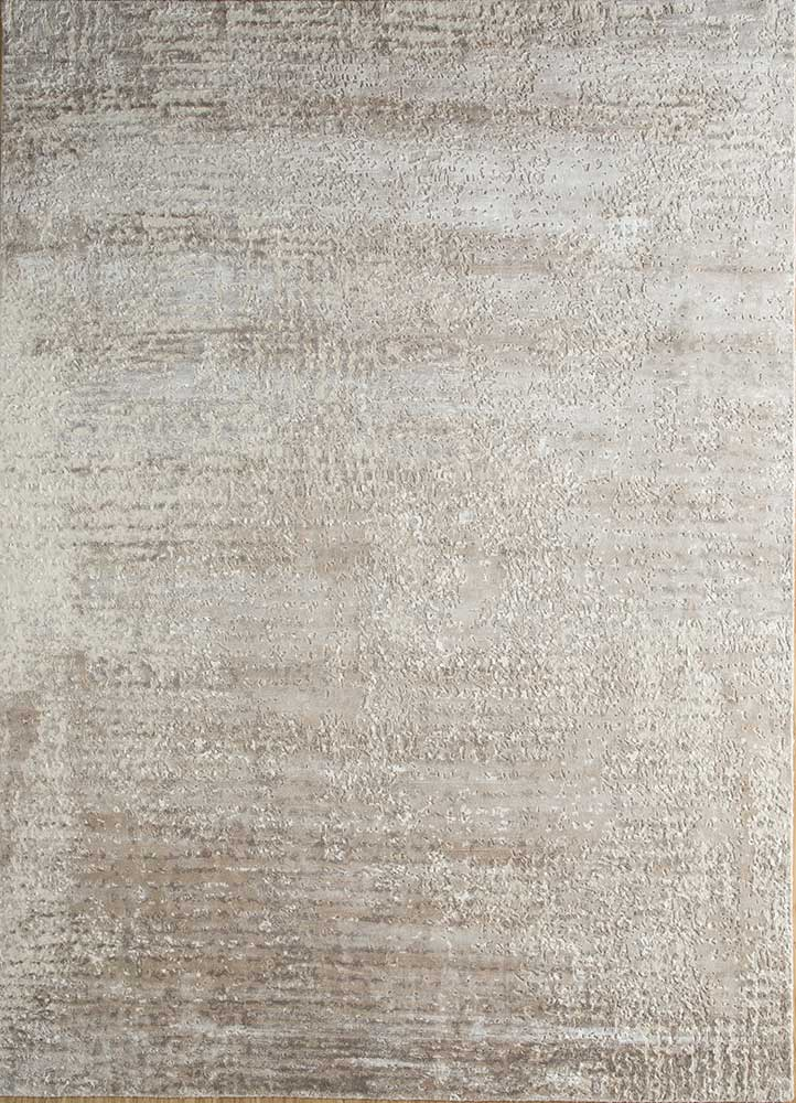 LRB-1503 Marble/Antique White ivory wool and bamboo silk hand knotted Rug