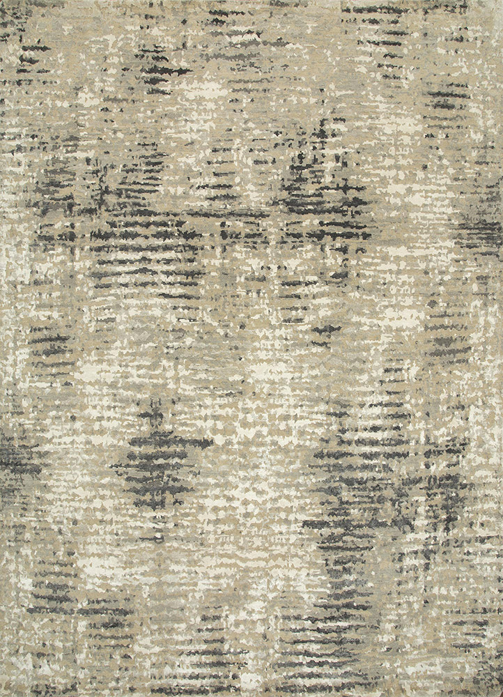 LRB-1505 Linen/Classic Gray ivory wool and bamboo silk hand knotted Rug