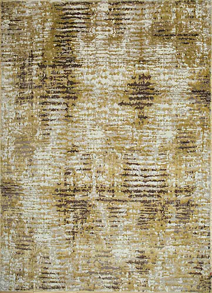 LRB-1505 White/Honey Mustard ivory wool and bamboo silk hand knotted Rug