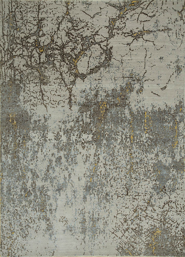 LRB-1525 Ivory/Medium Brown ivory wool and bamboo silk hand knotted Rug