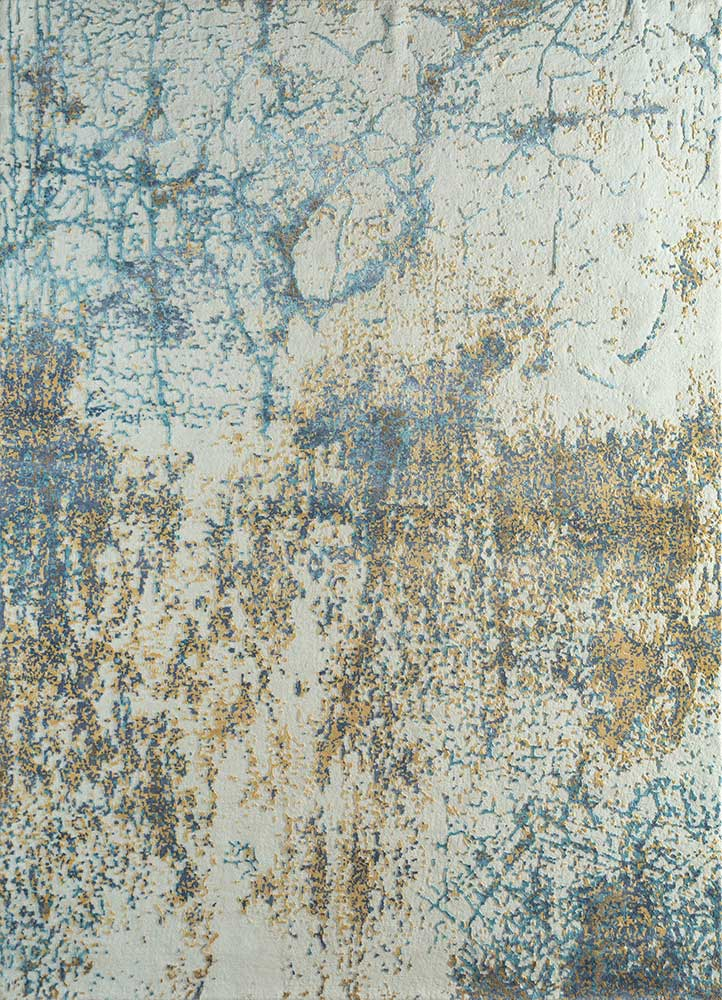 LRB-1525 Snow White/Jamaican Aqua ivory wool and bamboo silk hand knotted Rug