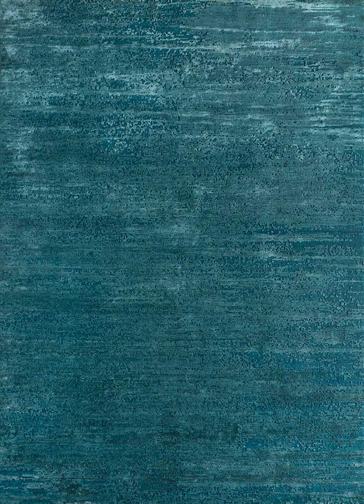 uvenuti blue wool and bamboo silk hand knotted Rug - HeadShot