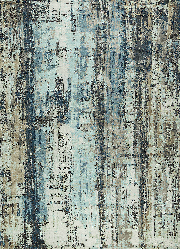 LRB-1539 Aquamarine/White blue wool and bamboo silk hand knotted Rug