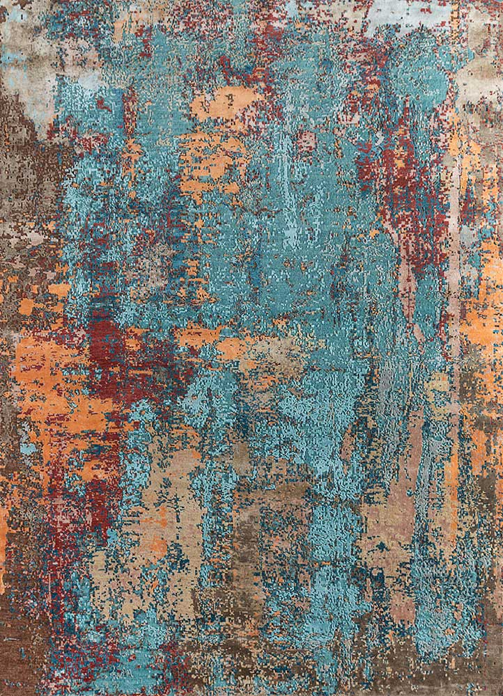 LRB-1542 (CS-01) Capri/Deep Teal blue wool and bamboo silk hand knotted Rug