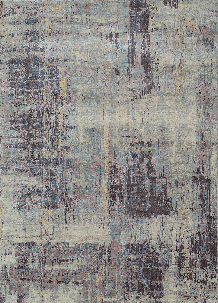 LRB-1545 Ivory/Purple Ash ivory wool and bamboo silk hand knotted Rug
