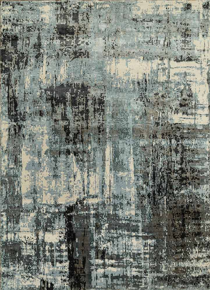 LRB-1545 Antique White/Black Olive ivory wool and bamboo silk hand knotted Rug