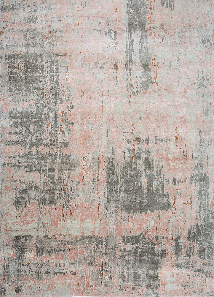 LRB-1545 Antique White/Pink Tint ivory wool and bamboo silk hand knotted Rug