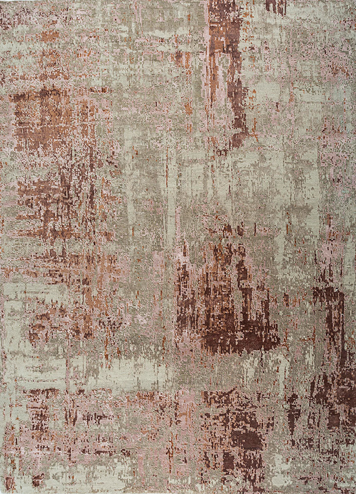 LRB-1545 Antique White/Espresso ivory wool and bamboo silk hand knotted Rug