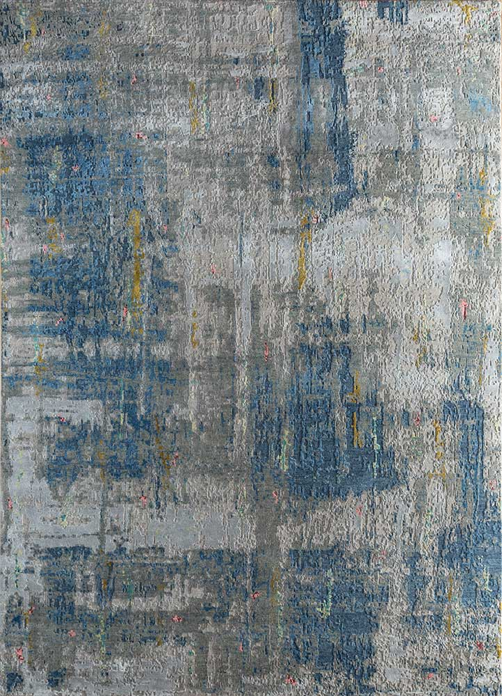 LRB-1545 Classic Gray/Medium Blue grey and black wool and bamboo silk hand knotted Rug