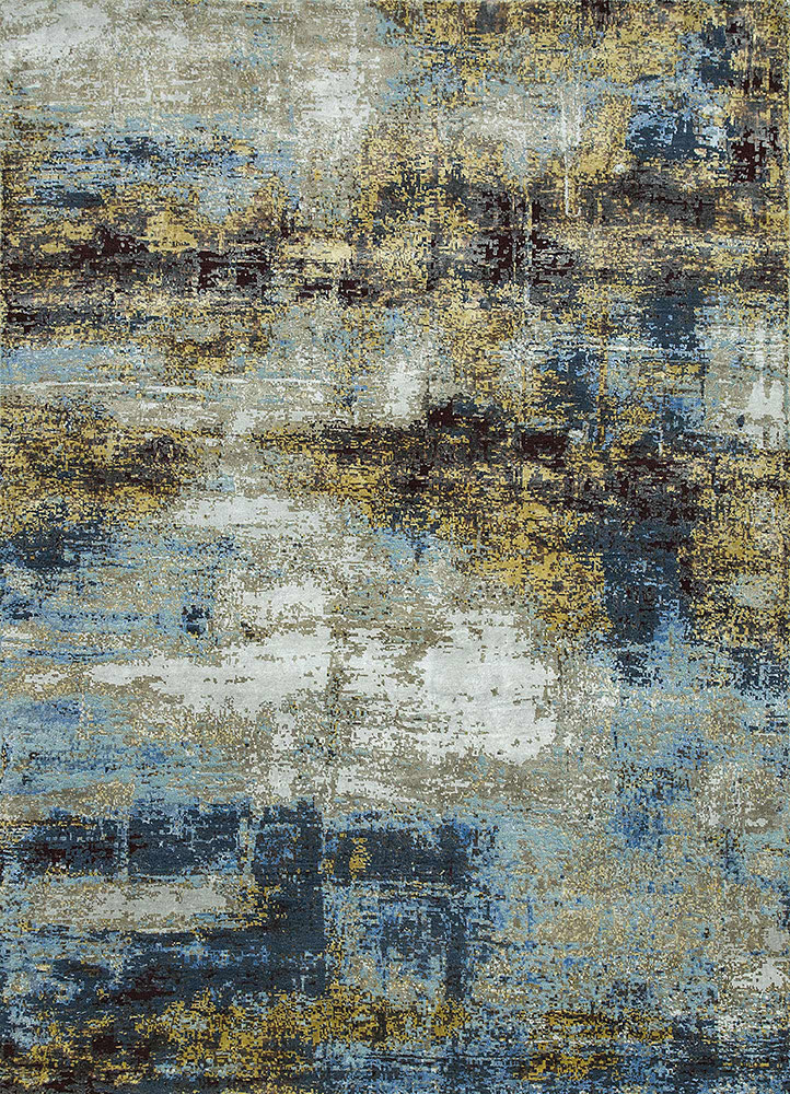 LRB-1550 Silver Mink/Sea Mist Green grey and black wool and bamboo silk hand knotted Rug