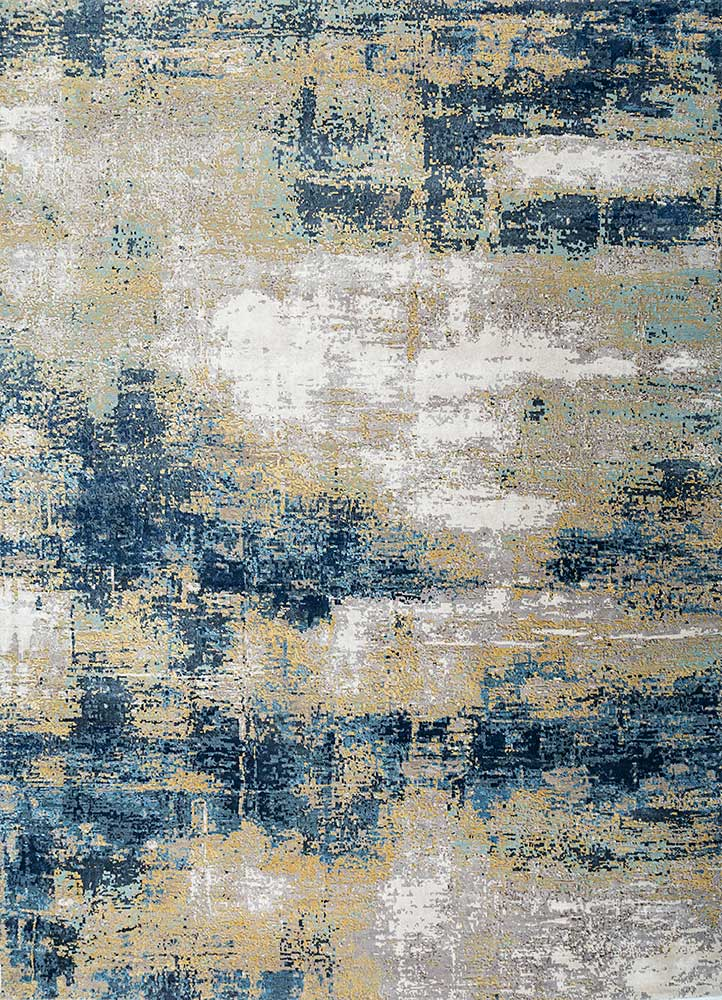 LRB-1550 Dove/Lemon grey and black wool and bamboo silk hand knotted Rug