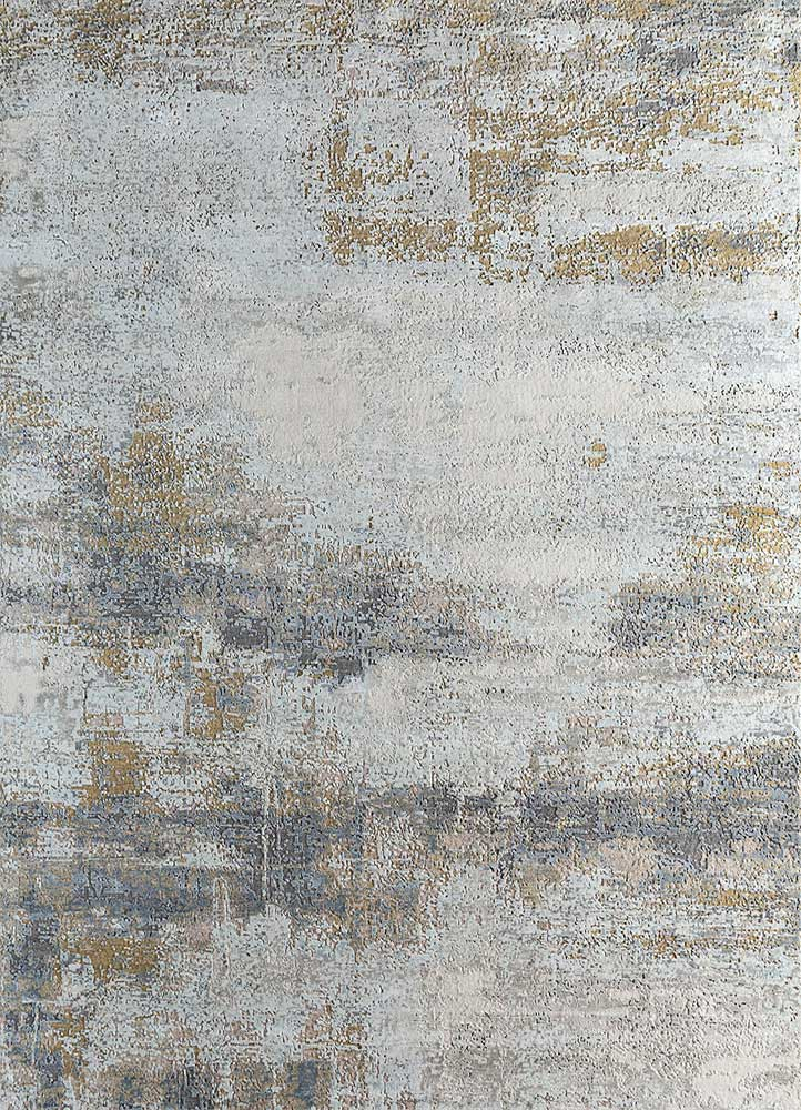 LRB-1550 White/Medium Gold ivory wool and bamboo silk hand knotted Rug