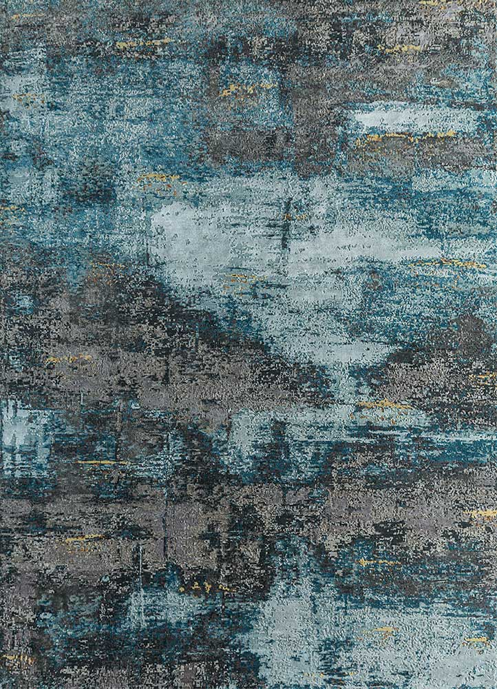 LRB-1550 Dream Blue/Deep Teal blue wool and bamboo silk hand knotted Rug