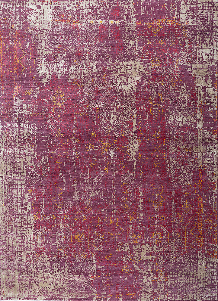 LRB-1569 Dry Rose/Light Coffee pink and purple wool and bamboo silk hand knotted Rug