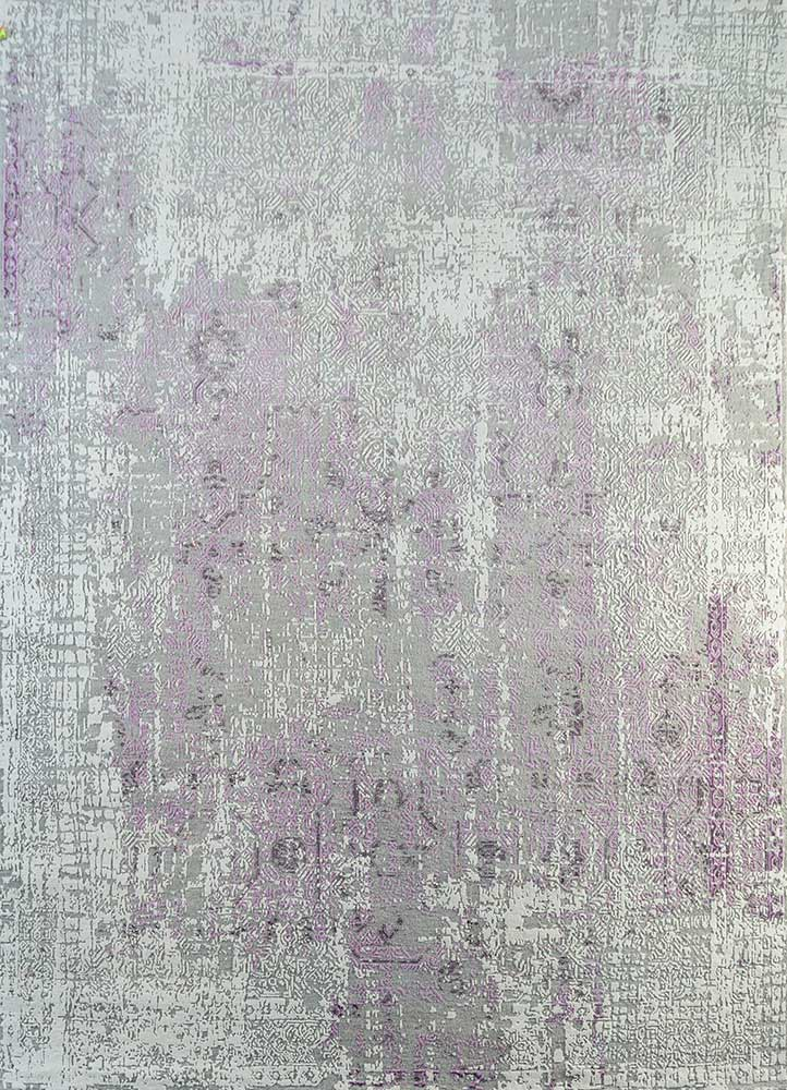 LRB-1569 Soft Gray/White grey and black wool and bamboo silk hand knotted Rug