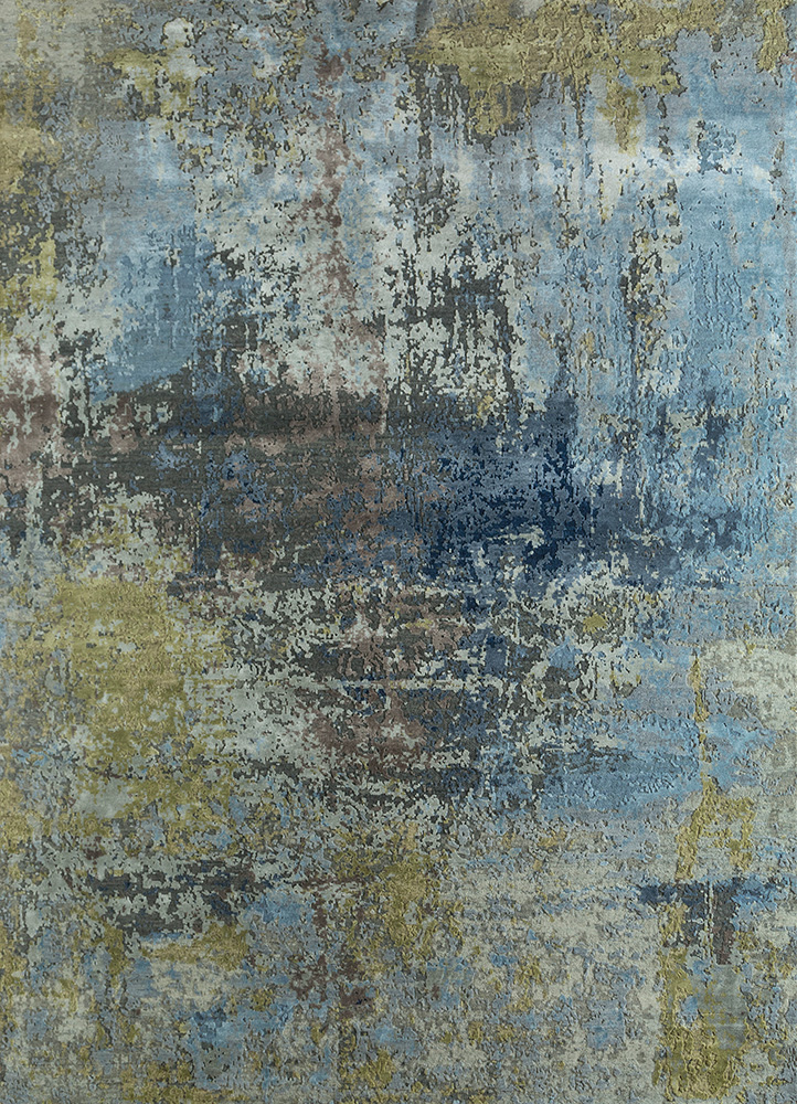 LRB-1572 Deep Blue/Medium Blue blue wool and bamboo silk hand knotted Rug