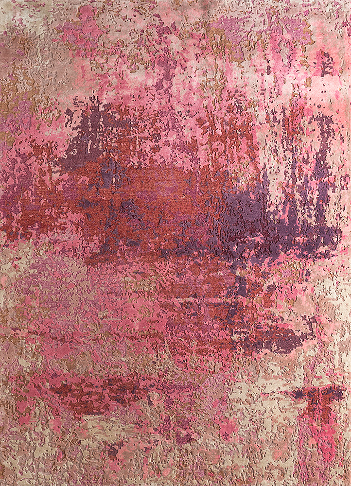 LRB-1572 Pink Crush/Pink pink and purple wool and bamboo silk hand knotted Rug