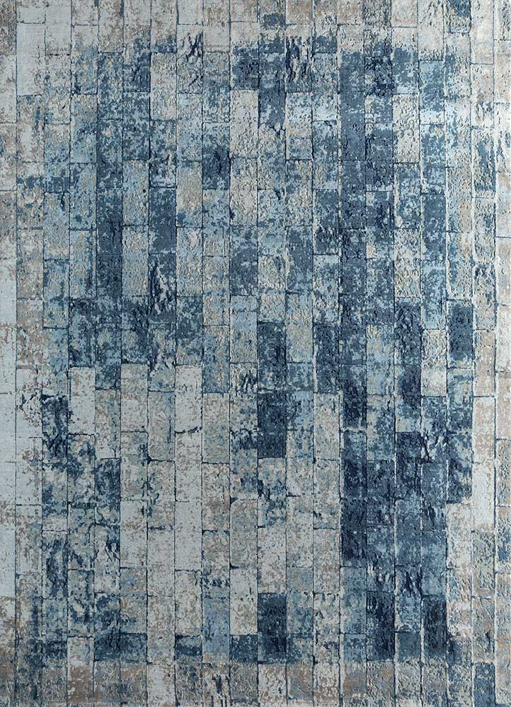uvenuti blue wool and silk hand knotted Rug - HeadShot