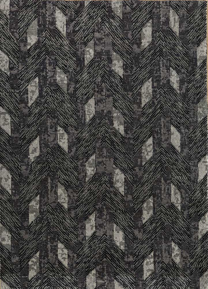 geode grey and black wool and bamboo silk hand knotted Rug - HeadShot