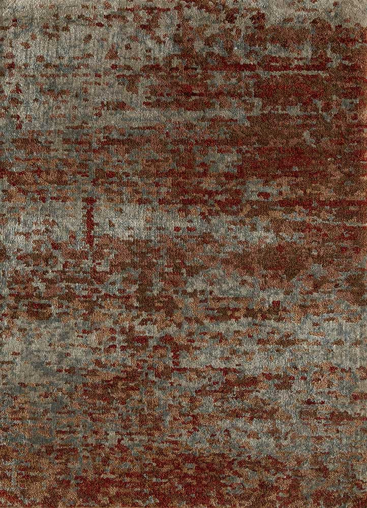 entropy red and orange wool and bamboo silk hand knotted Rug - HeadShot