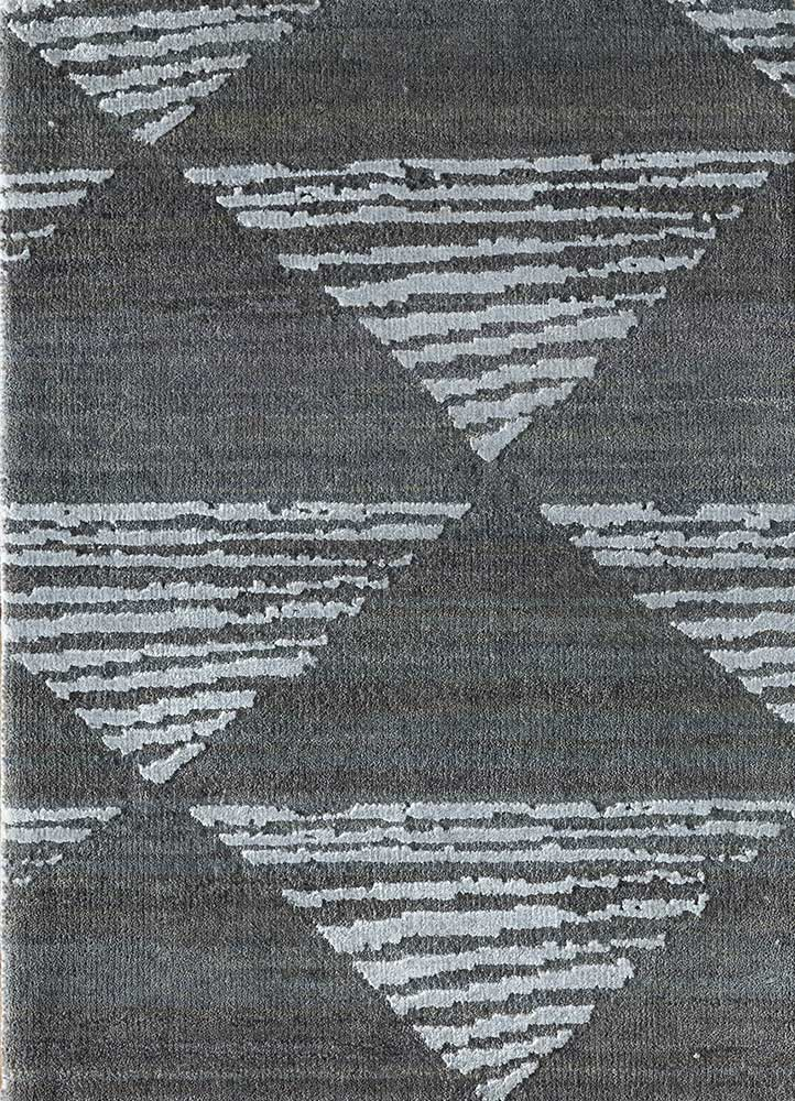 LRB-7017 Slate Blue/BlueBell blue wool and bamboo silk hand knotted Rug