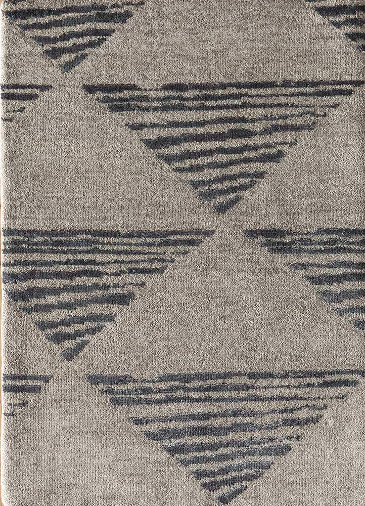 LRB-7017 Linen/Black Olive ivory wool and bamboo silk hand knotted Rug