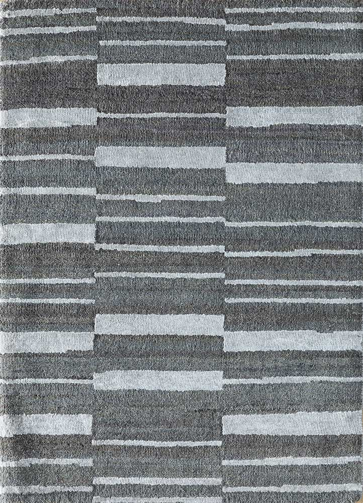 LRB-7021 Slate Blue/BlueBell blue wool and bamboo silk hand knotted Rug