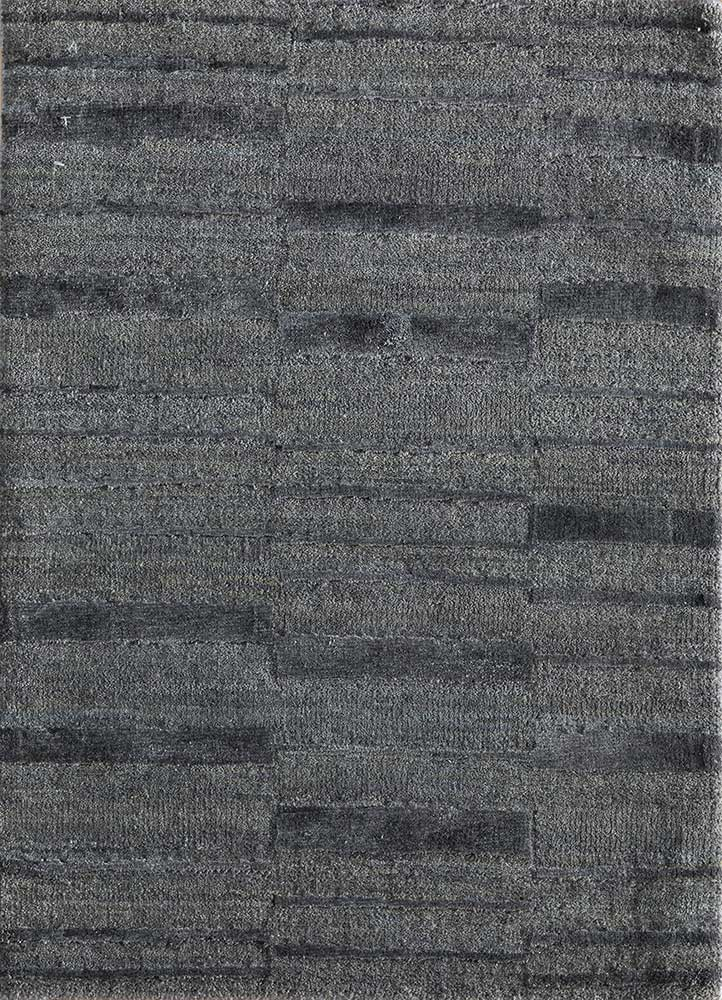 LRB-7021 Medium Gray/Black Olive grey and black wool and bamboo silk hand knotted Rug