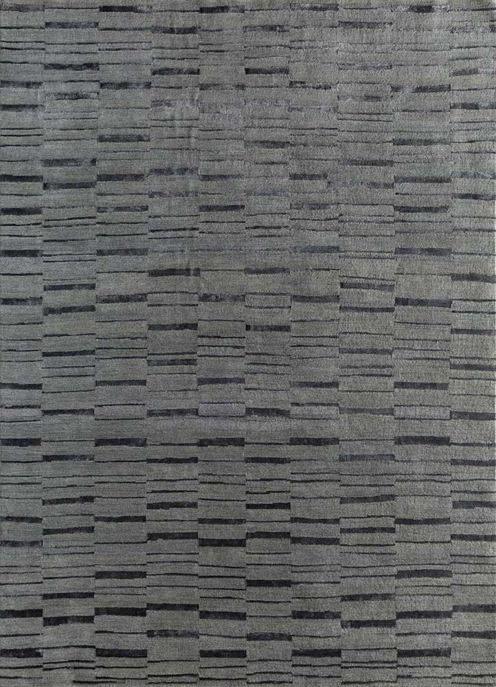 LRB-7021 Nickel/Black Olive grey and black wool and bamboo silk hand knotted Rug