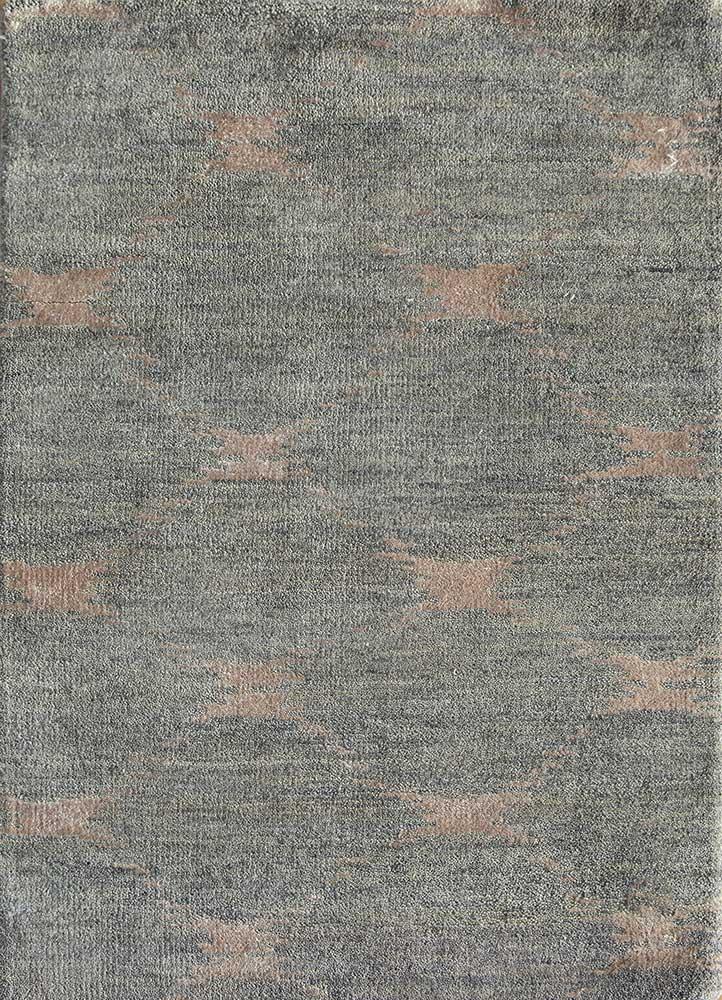 uvenuti grey and black wool and bamboo silk hand knotted Rug - HeadShot