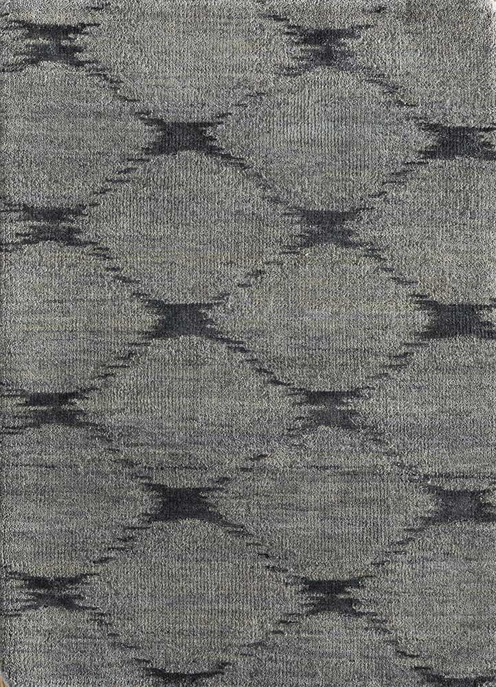 LRB-7022 Medium Gray/Black Olive grey and black wool and bamboo silk hand knotted Rug