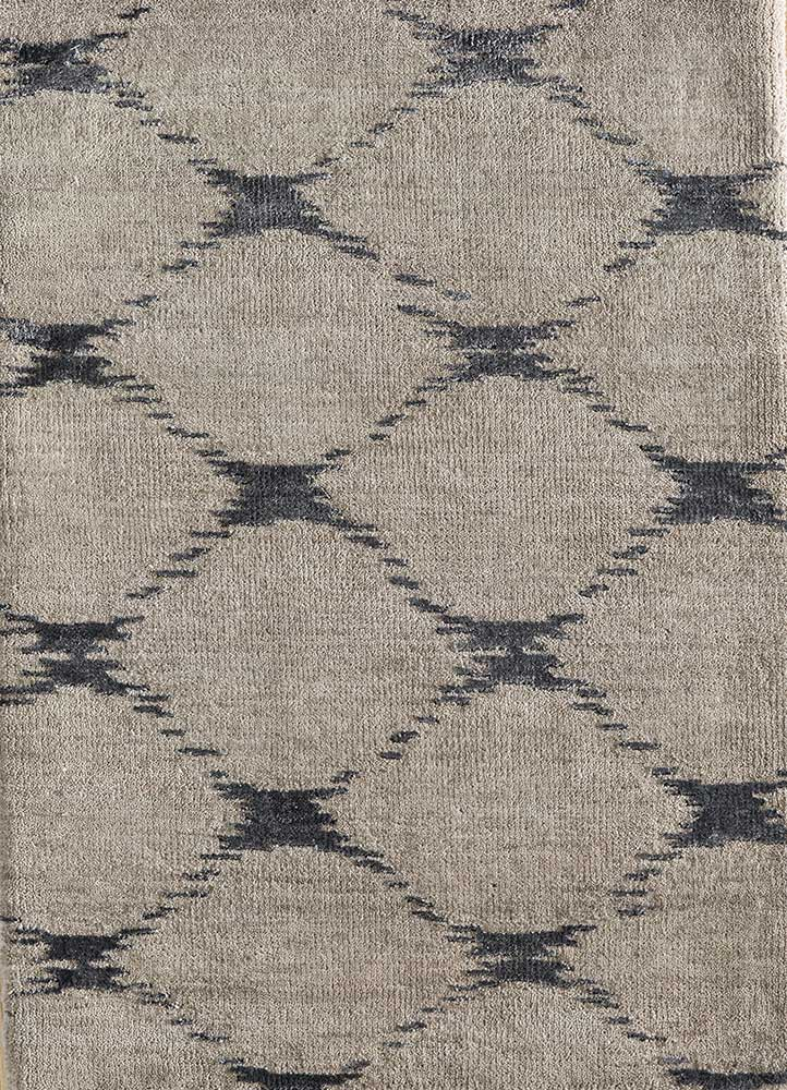 LRB-7022 Linen/Black Olive ivory wool and bamboo silk hand knotted Rug